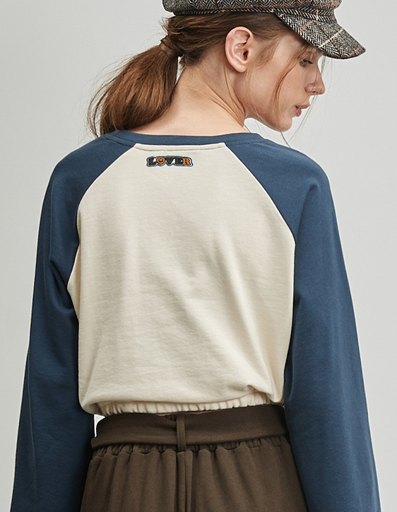 配色棒球袖短版上衣