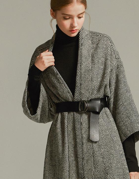 寬鬆人字紋開襟外套