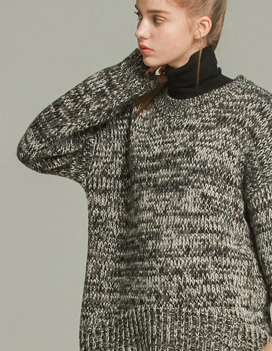 圓領寬鬆花紗毛衣