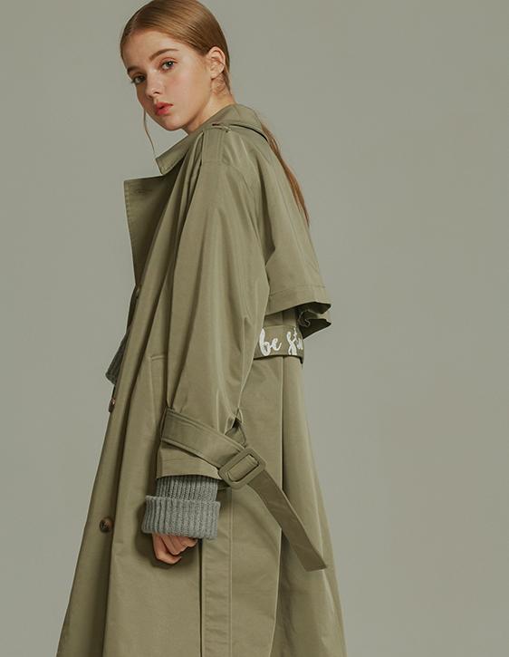 綁帶印花長版風衣外套