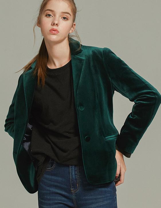 天鵝絨合版西裝外套
