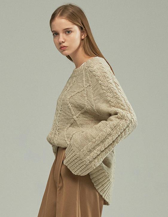大圓領麻花羊毛針織衫
