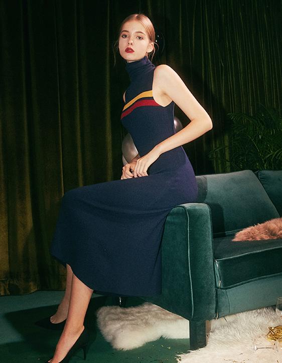 高領無袖針織拼條洋裝