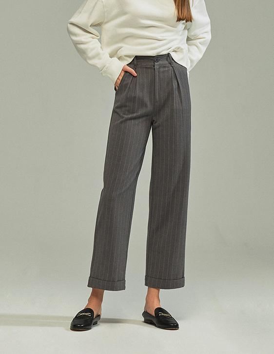 直條紋直筒反摺褲