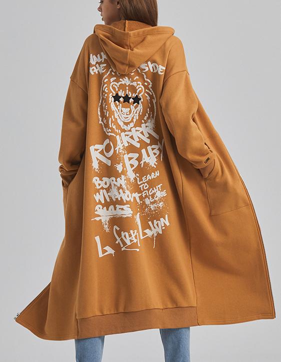 獅子連帽長外套(附一周年印花束口袋)