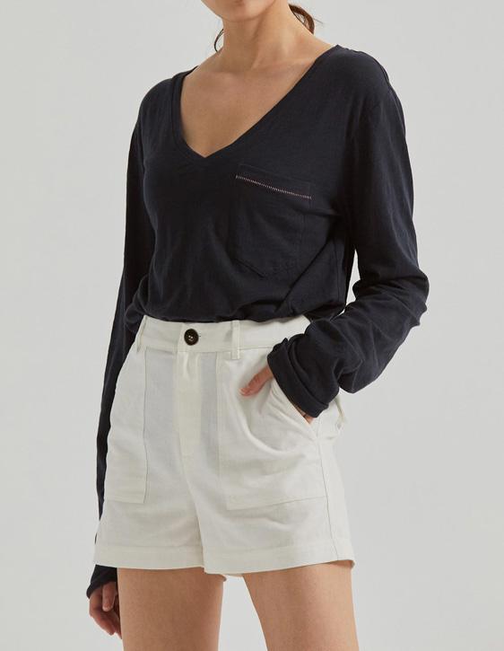 反摺棉麻短褲