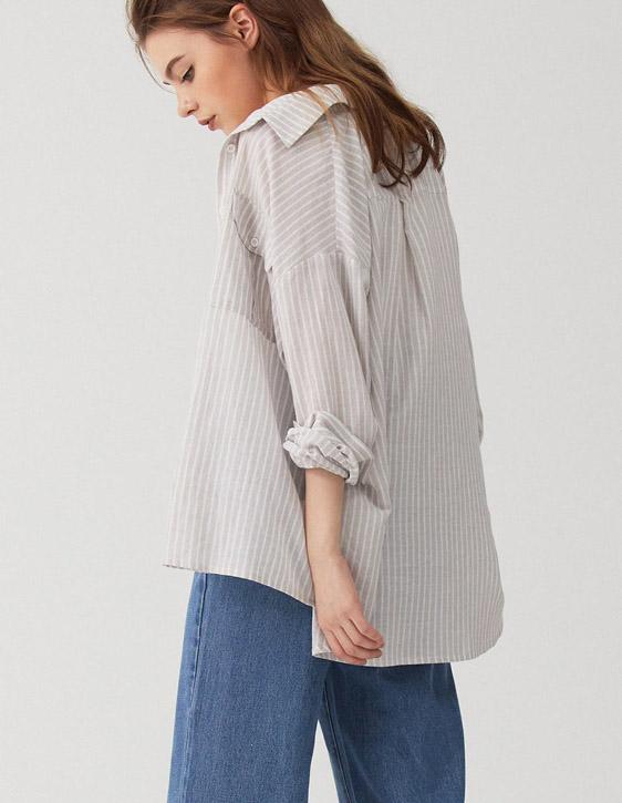 直條紋前口袋襯衫