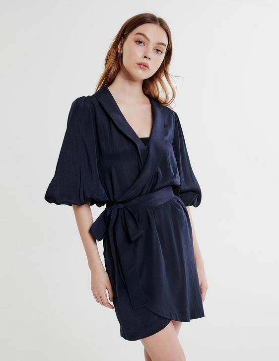 緞面交岔短洋裝
