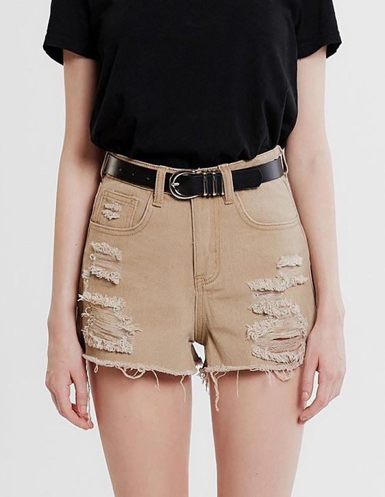 破損感斜紋短褲