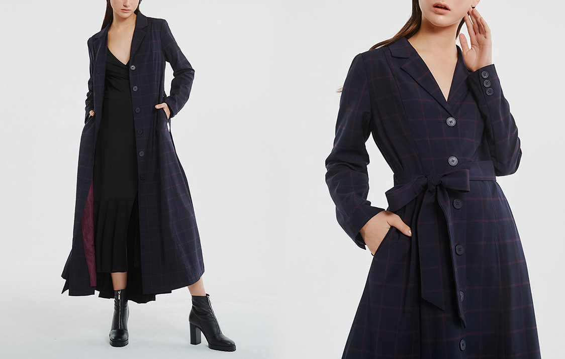 格紋綁帶西裝領長外套