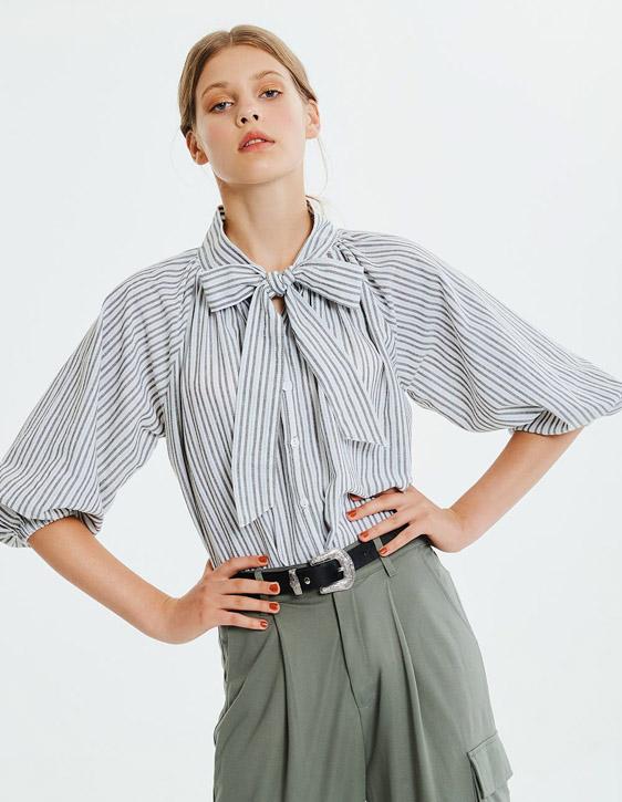 綁帶條紋寬鬆襯衫