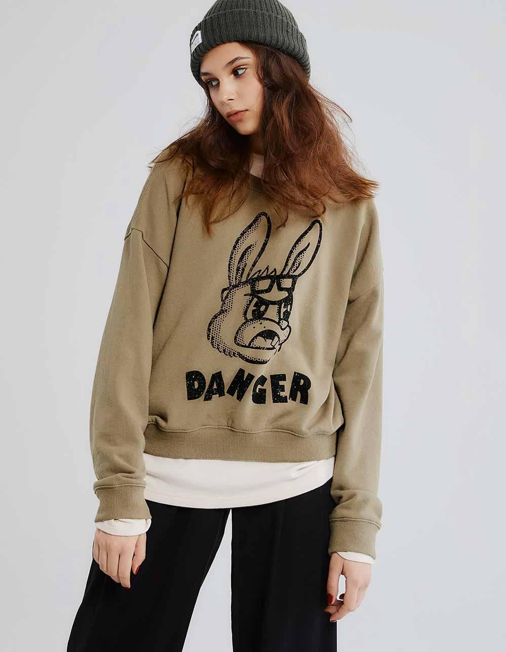 DANGER兔印花衛衣