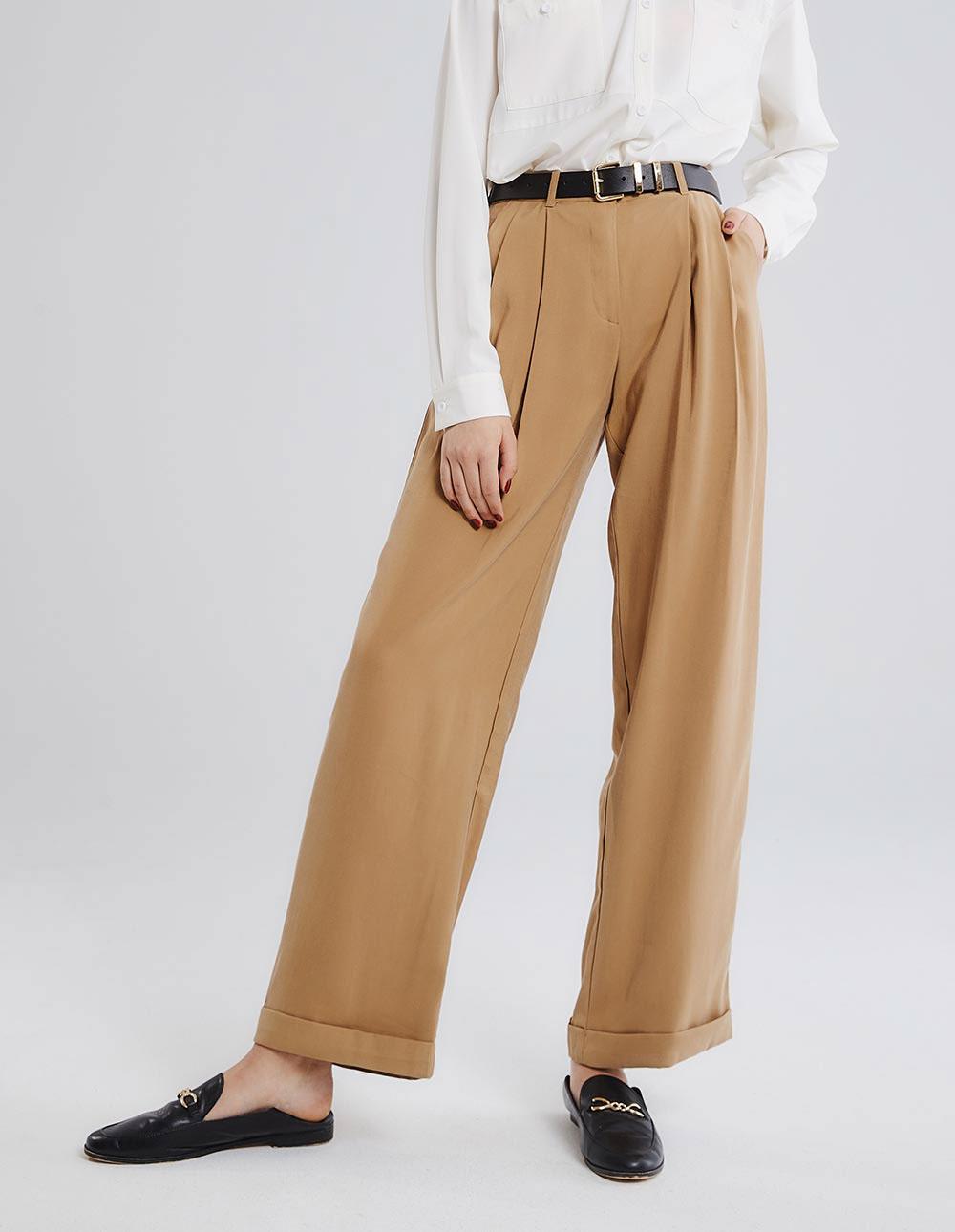 雙褶直筒寬褲
