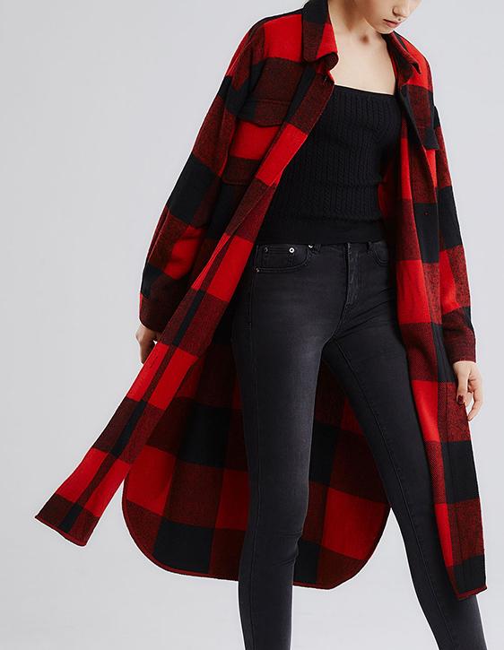 大格紋長版外套