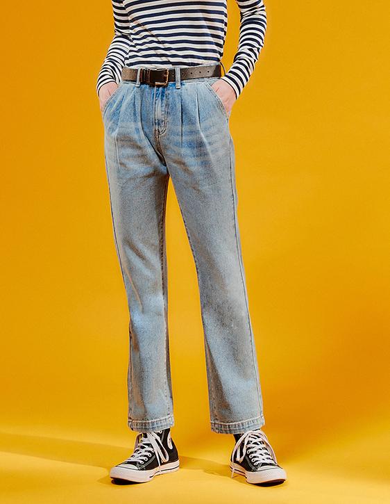 雙褶牛仔直筒寬褲