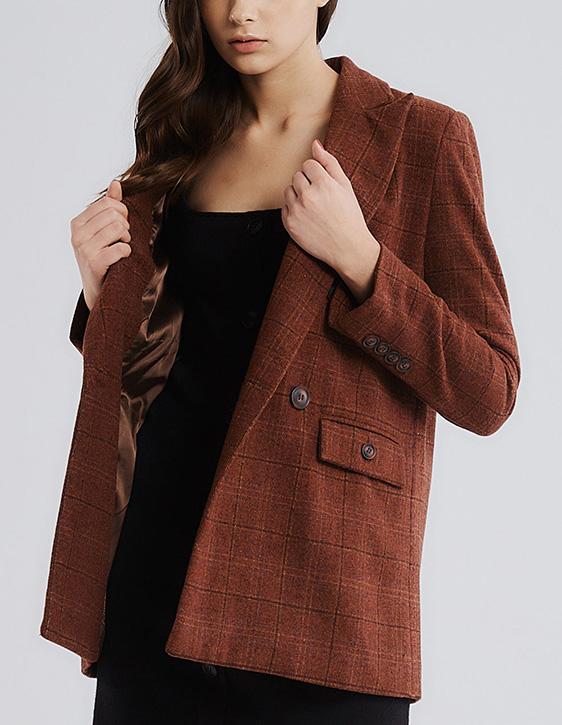 格紋雙排釦西裝外套