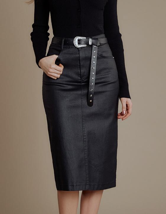 塗層仿皮彈力窄裙