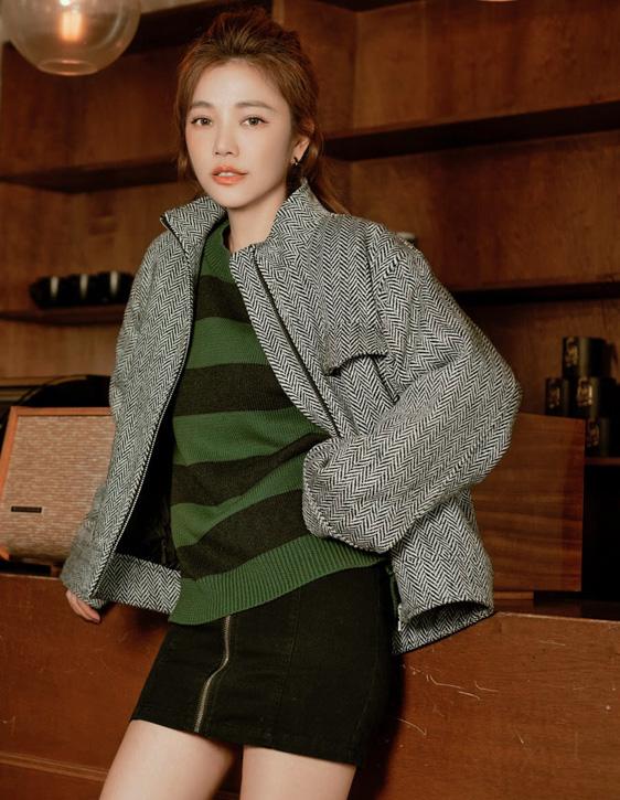 人字紋寬鬆鋪棉外套
