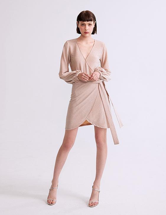 金蔥澎袖V領洋裝