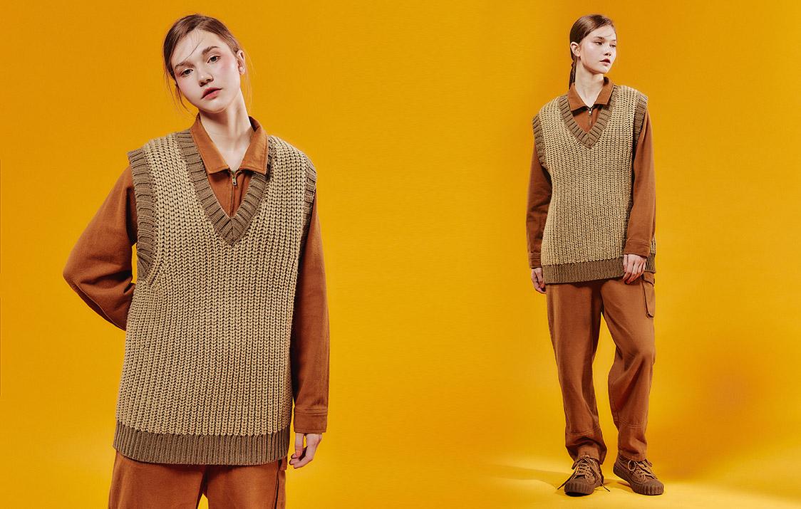 羊毛V領織紋寬版背心