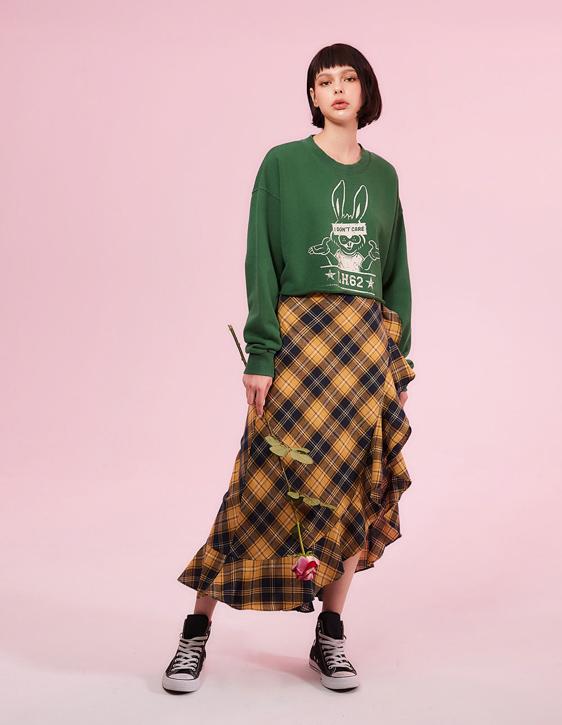 格紋荷葉開衩長裙