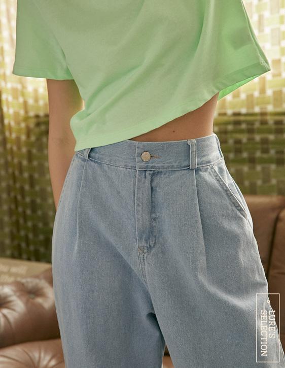 選品系列:前打褶牛仔寬褲
