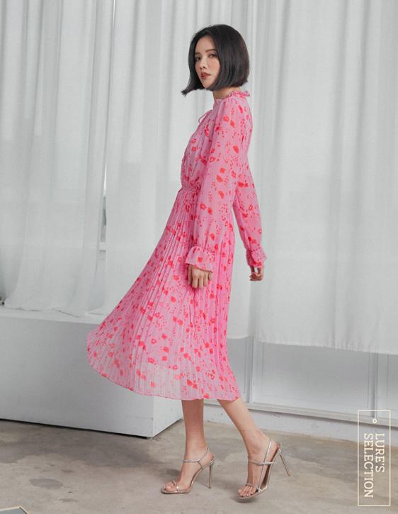 選品系列:花版雪紡壓褶洋裝