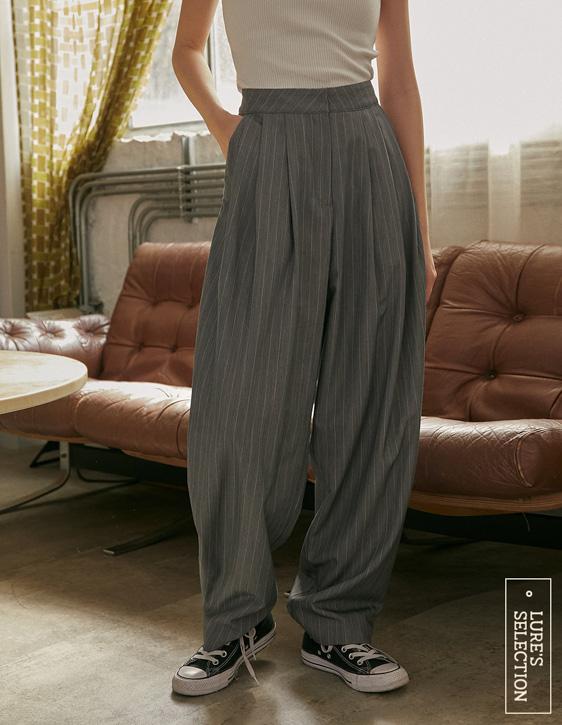 選品系列:條紋雙褶寬褲