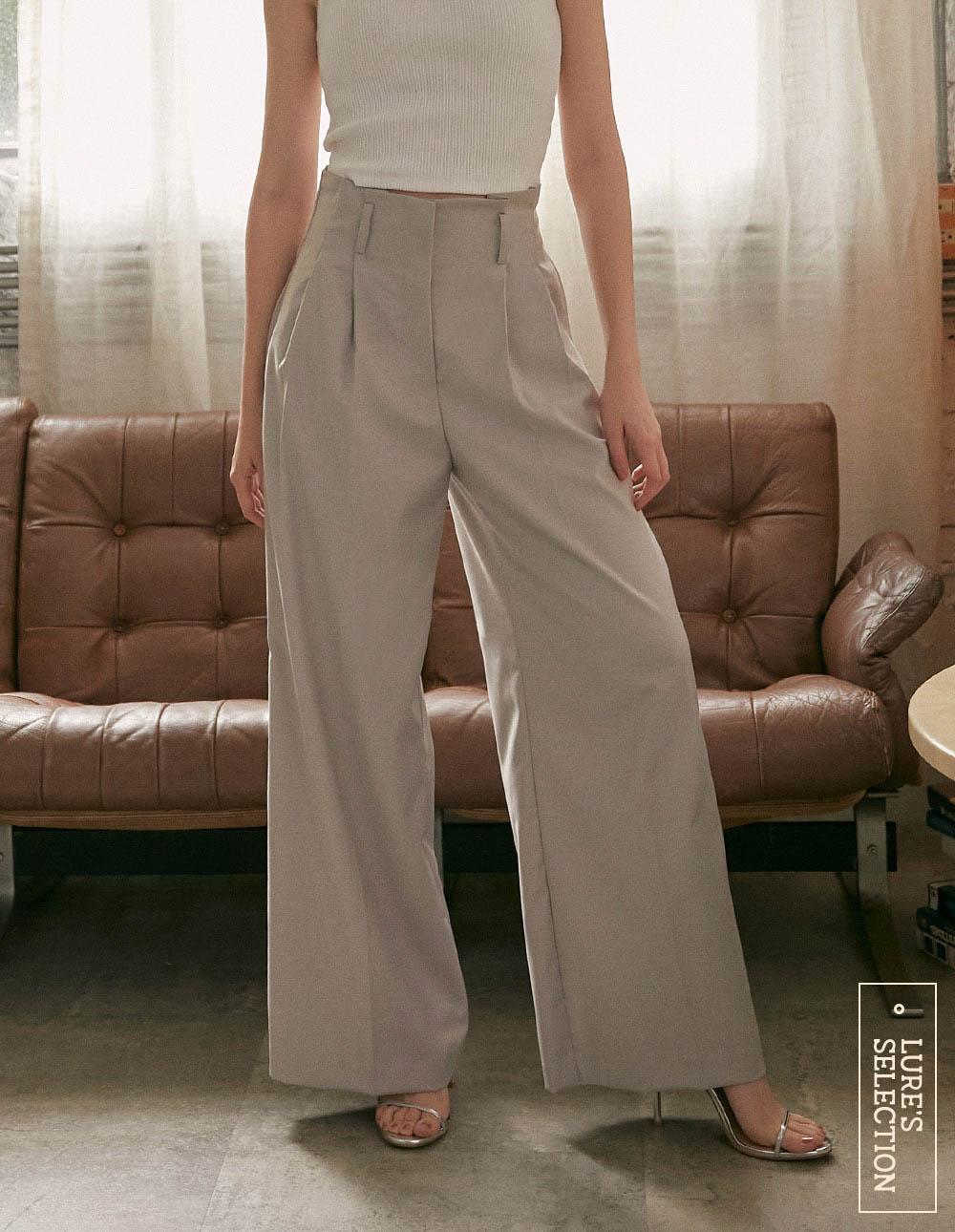 選品系列:高腰打褶寬褲