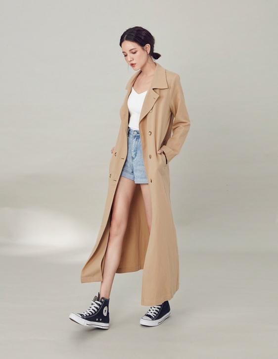 棉麻雙排釦外套