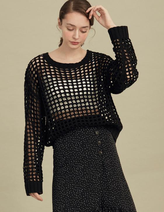 方格鏤空針織上衣