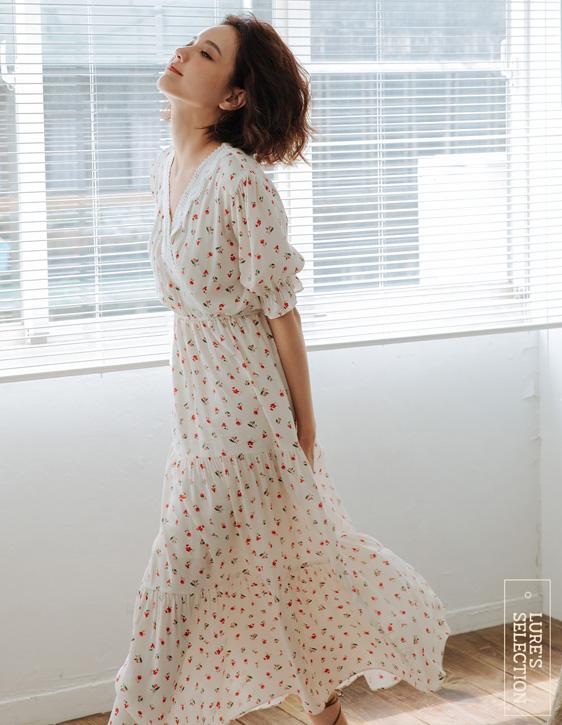 選品系列:前交襟印花長洋裝