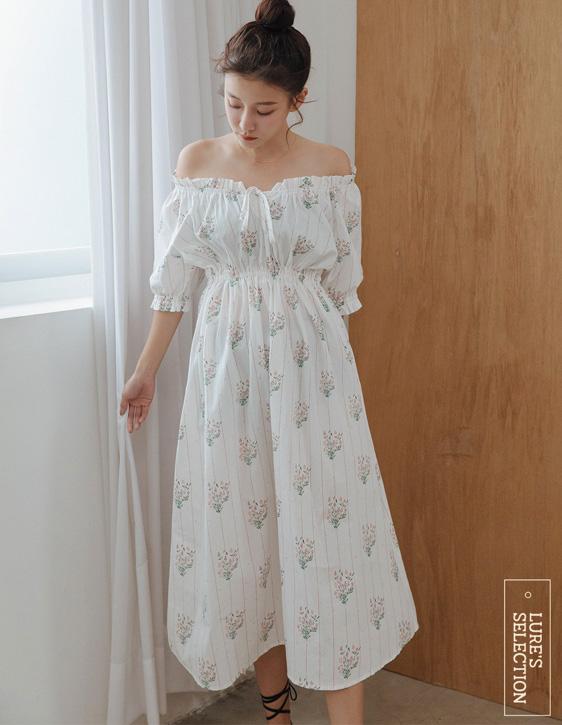 選品系列:肩鬆緊印花洋裝
