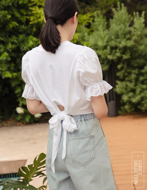 選品系列:蕾絲袖後綁帶上衣