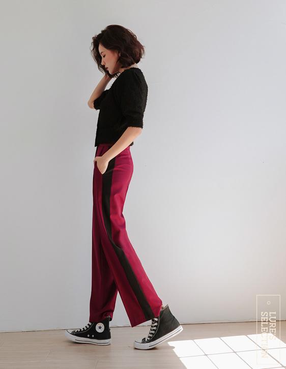 選品系列:配色剪接西裝褲