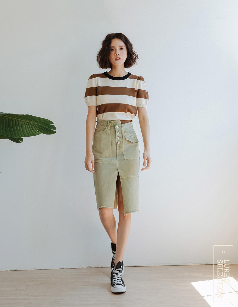 選品系列:不對稱腰頭直筒裙