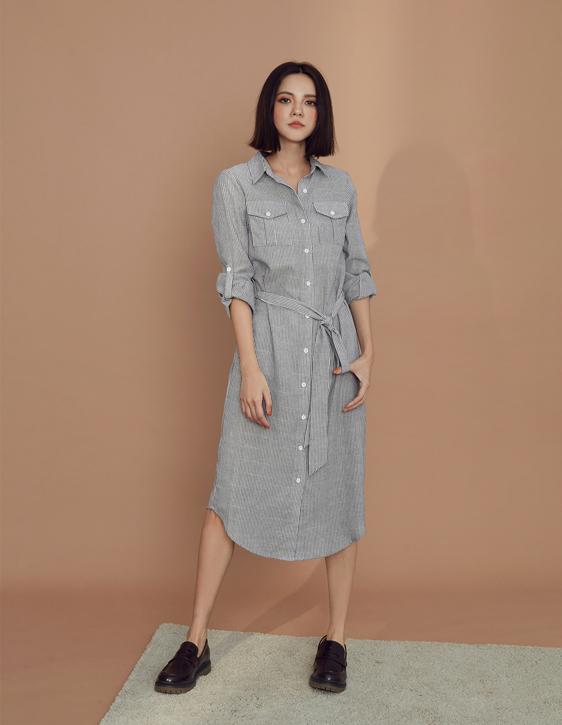 棉麻條紋長版襯衫