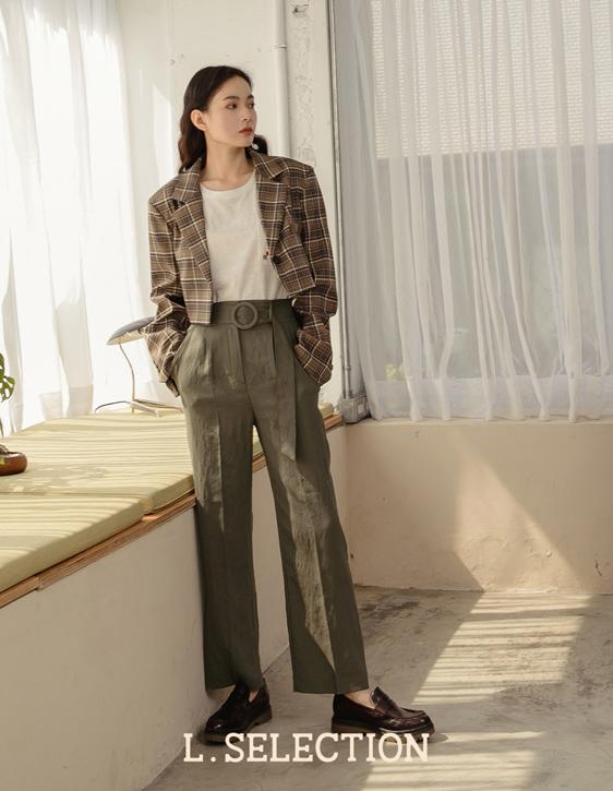選品系列:棉麻打褶長褲
