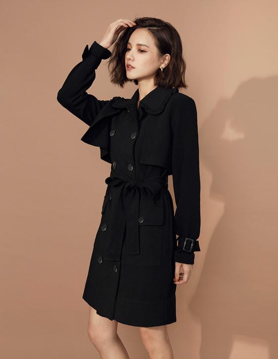 雙排釦荷葉領外套