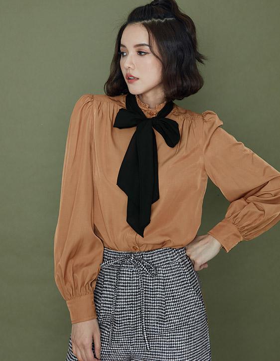 澎袖絲滑襯衫