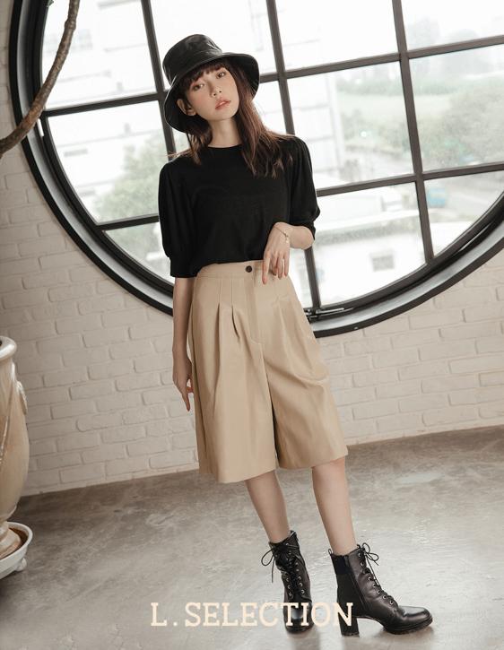 選品系列:人造皮革五分寬褲