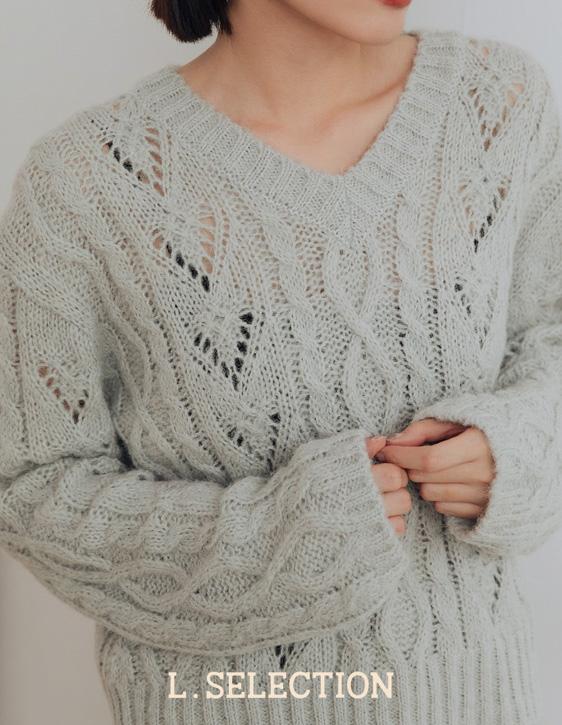 選品系列:V領麻花針織上衣