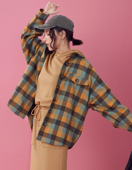 羊毛混紡格紋襯衫