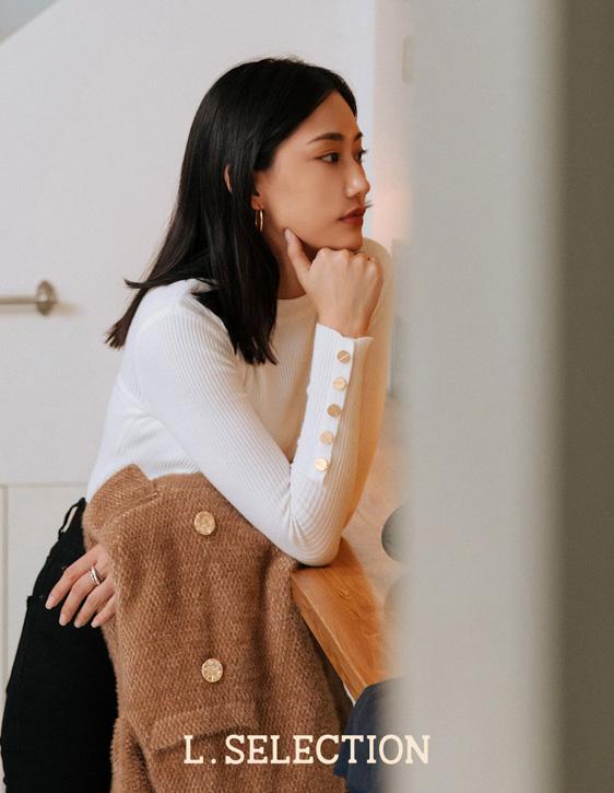 選品系列:袖金釦針織上衣