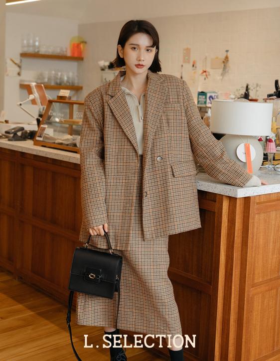 選品系列:格紋中長裙套裝