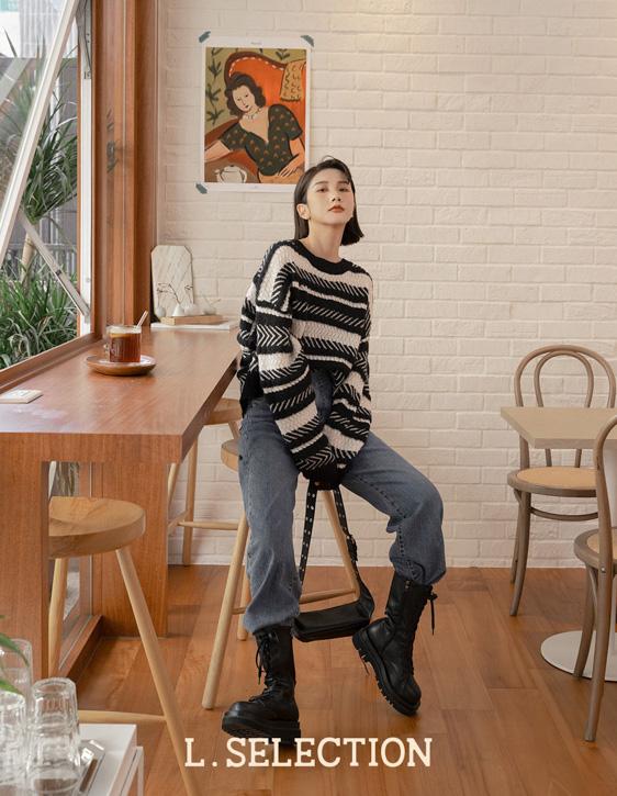 選品系列:幾何橫條紋針織衫