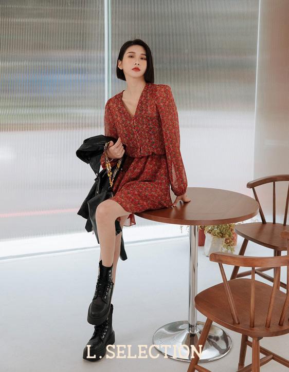 選品系列:V領雪紡洋裝