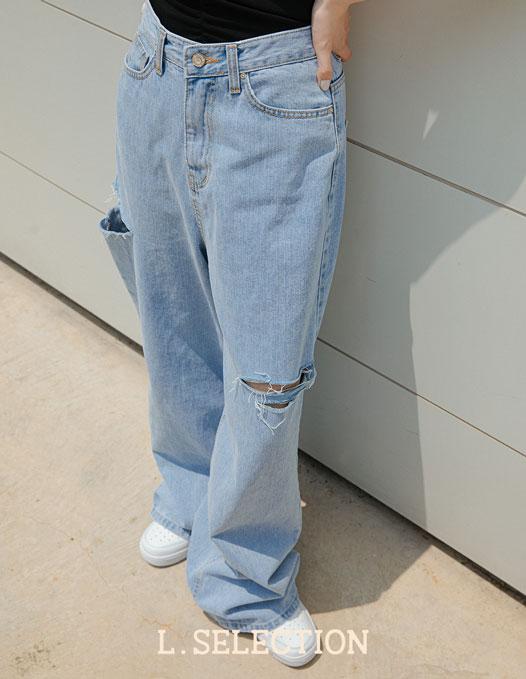選品系列:刷破牛仔寬褲