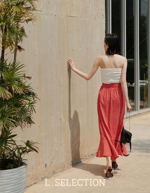 選品系列:圓點開岔荷葉邊裙