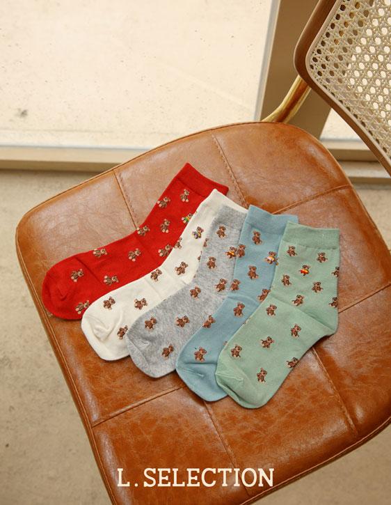 選品系列:滿版小熊印花襪